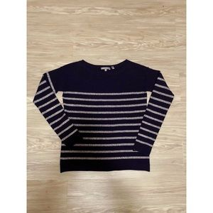 VINCE Navy Blue Stripe Sweater XS Cashmere/Wool